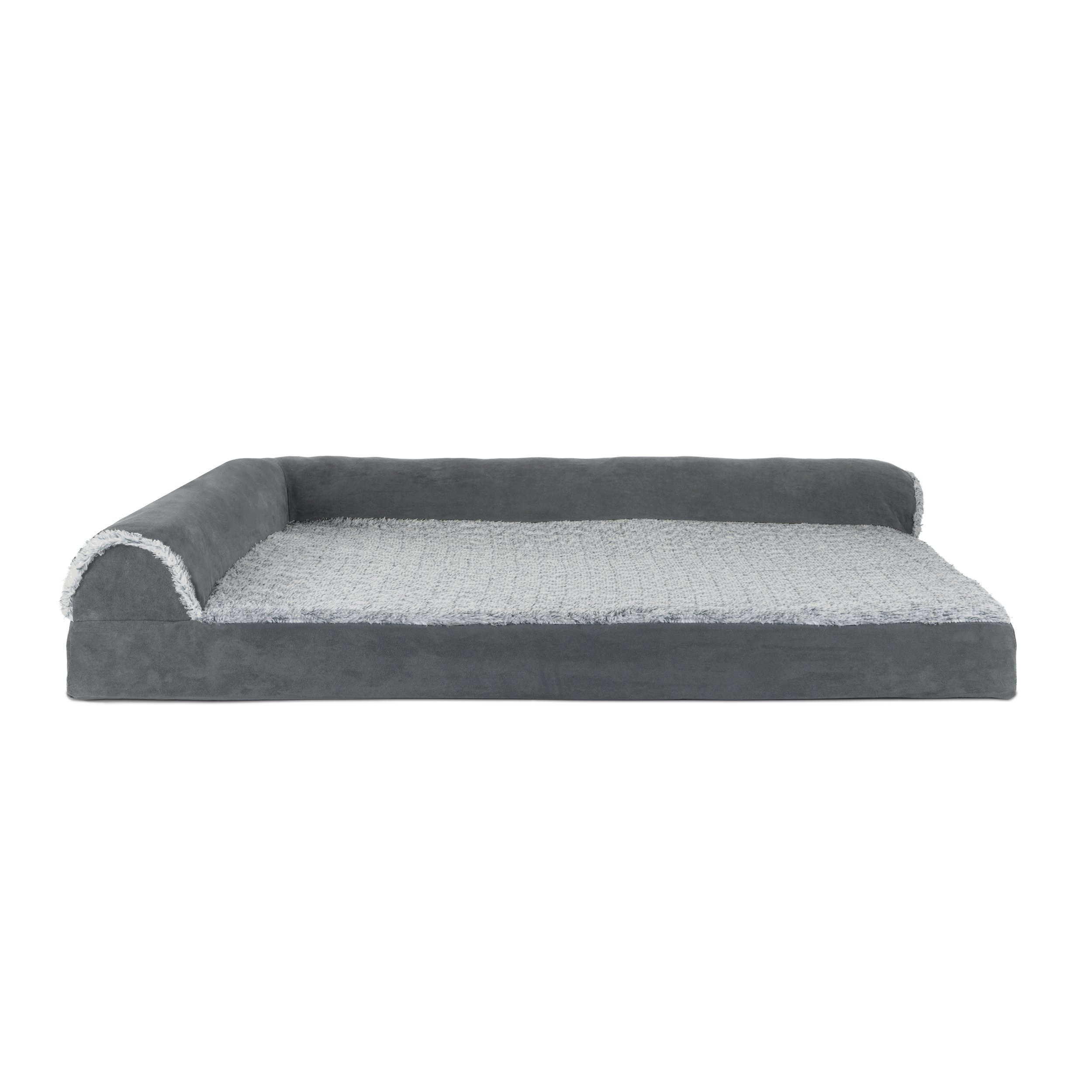 Furhaven Pet Dog Bed | Deluxe Cooling Gel Memory Foam Orthopedic Two-Tone Plush Faux Fur & Suede L Shaped Corner Chaise Lounge Sofa-Style Living Room Couch Pet Bed for Dogs & Cats, Stone Gray, Jumbo