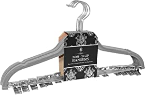 Signature Home Velvet Skirt/Pant Hangers with Metal Clips (Set of 6), Gray