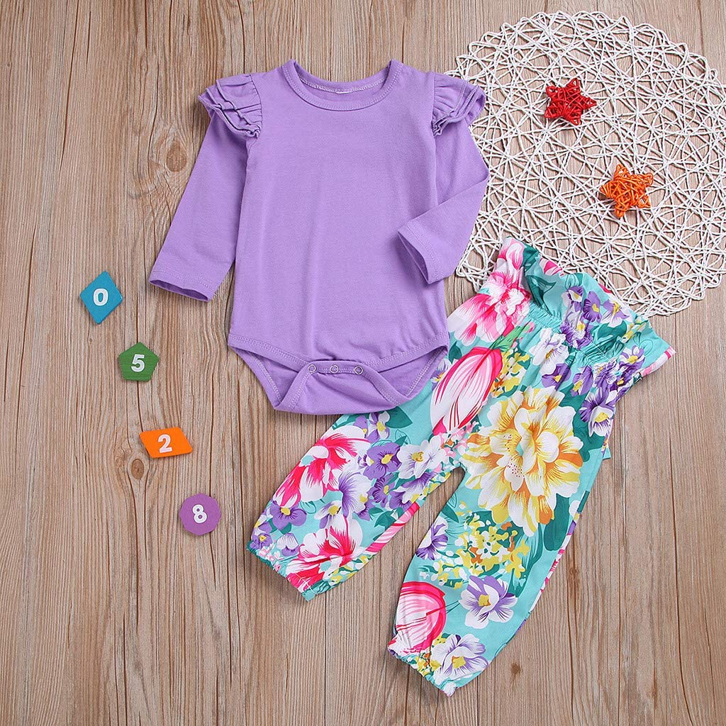 AMhomely Baby Clothing Sale Children Girl Baby Round Collar Long Sleeves Pure Color Jacket Printing Trousers UK Size Birthday Gift
