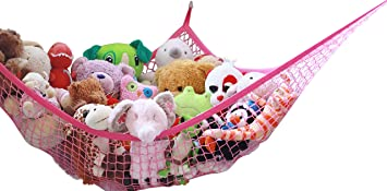 Jumbo 6 Ft Pink Toy Storage Hammock Extra Large Hanging Net Sky Jungle Netting Childrens Playroom Storage for Plush Toys Kids Stuffed Animals De-cluttering Solution Storage Organizer by Whitmor