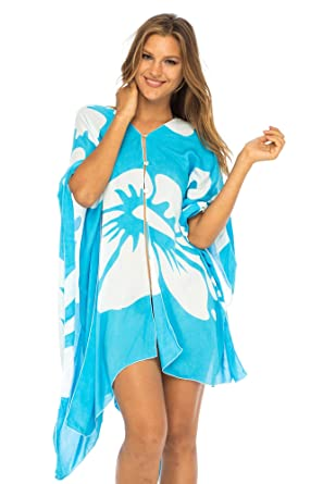 cfe42e1ad90df Back From Bali Womens Floral Beach Cover up, Hibiscus Sundress Asymmetrical  for Bikini Swimsuit Swimwear