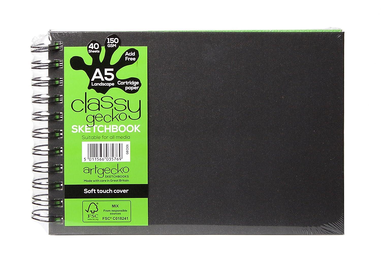Artgecko Classy Sketchbook A5 Landscape 80 pages (40 sheets) 150gsm Acid Free White Cartridge Paper Artgecko Sketchbooks
