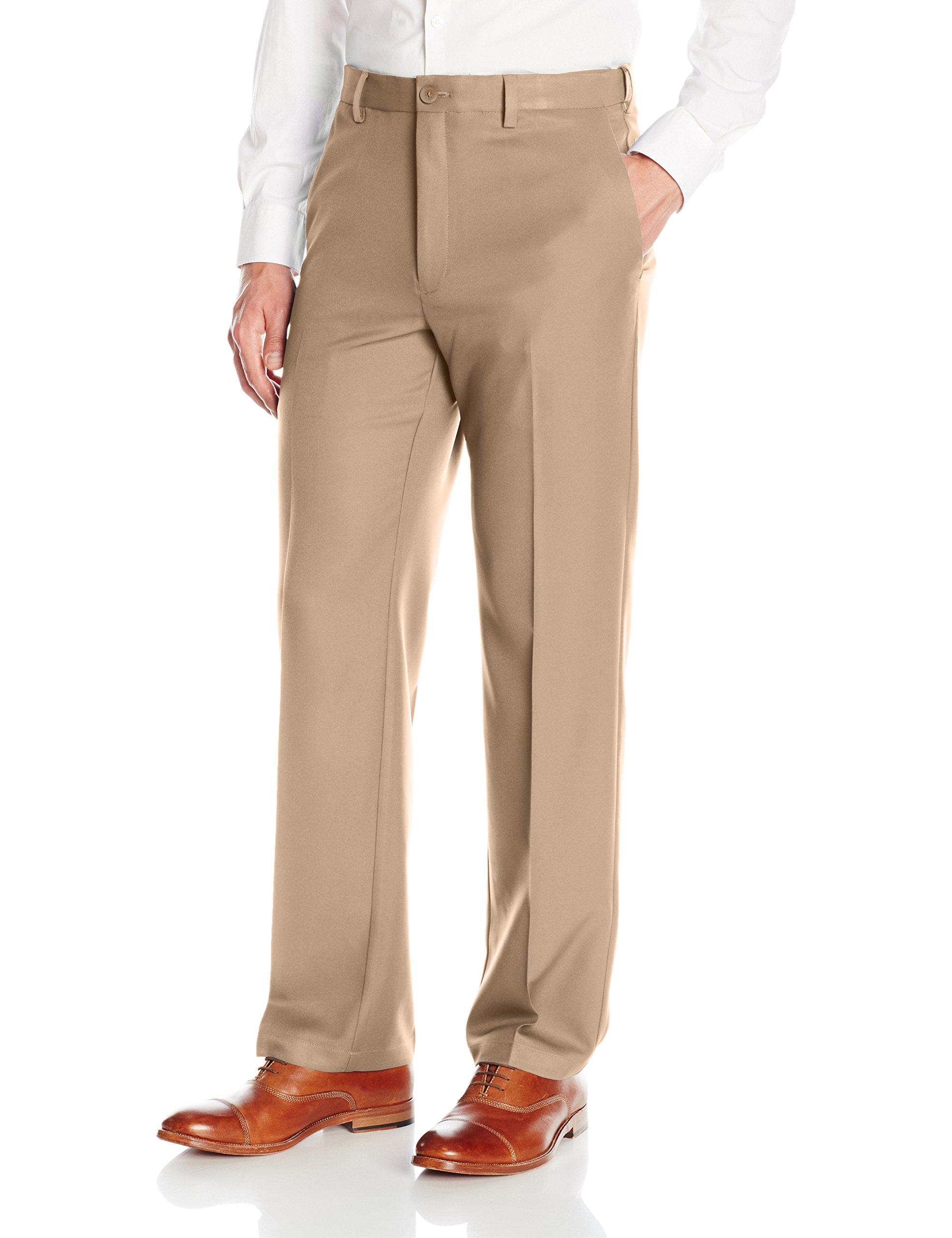 Haggar Men's Cool 18 Pro Classic Fit Flat Front Expandable Waist Pant, Khaki, 44Wx30L