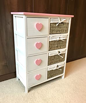 Home Delights Pink Girls Chest Drawers Wicker Baskets Storage Unit Retro  Princess Bedroom