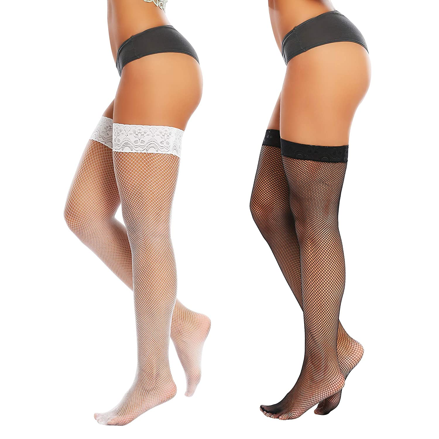 Joyaria Womens Fishnet Thigh-High Stockings with Silicone Lace Top