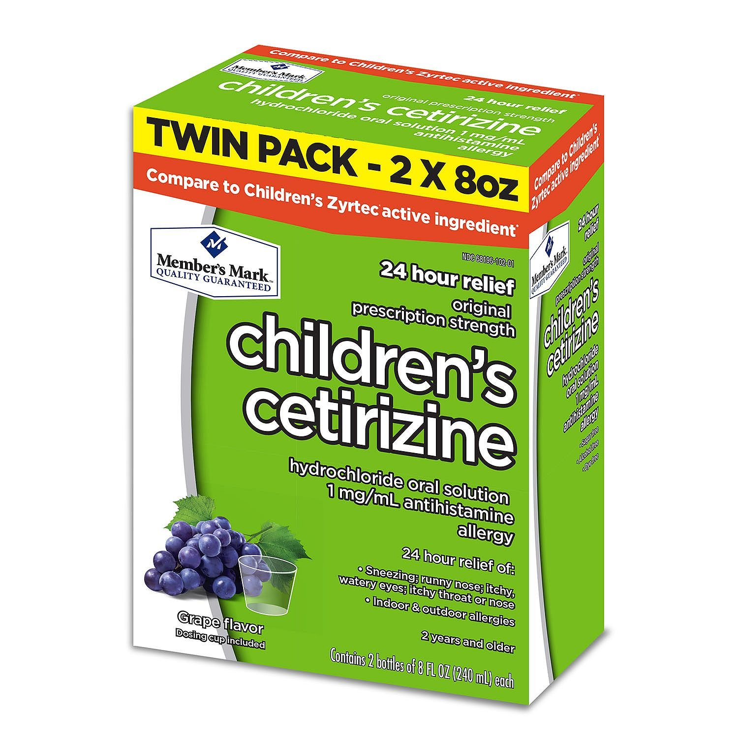 Member's Mark Children's Cetirizine Allergy Relief Oral Solution, Sugar-Free Grape Flavor (pack of 6) by Members Mark