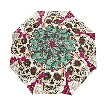 bennigiry Halloween rosa azúcar calaveras resistente al viento impermeable compacto paraguas de viaje – Auto abierto
