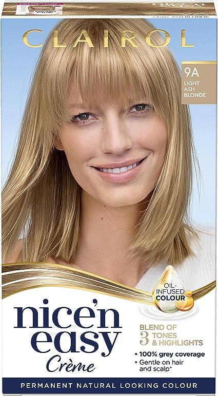 Clairol Nice n Easy - Tinte permanente con aceite de aspecto natural, 9A, color rubio ceniza claro, 177 ml