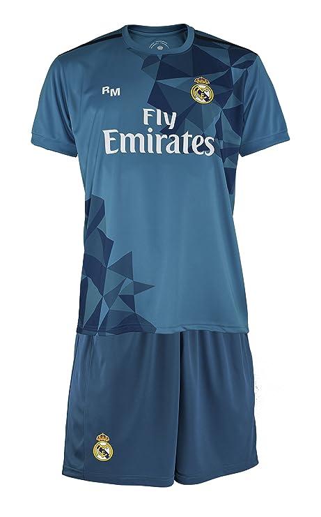 Real Madrid Ronaldo - Camiseta y pantalones de fútbol para niños, Azul, XXS (