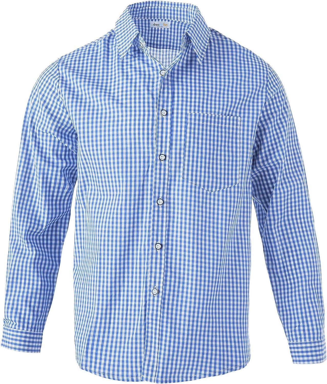 Langarmhemd mit Knopfleiste /& Brusttasche S | Nr. 303010 dressforfun 900605 Herren Trachtenhemd blau wei/ß kariert Diverse Gr/ö/ßen -