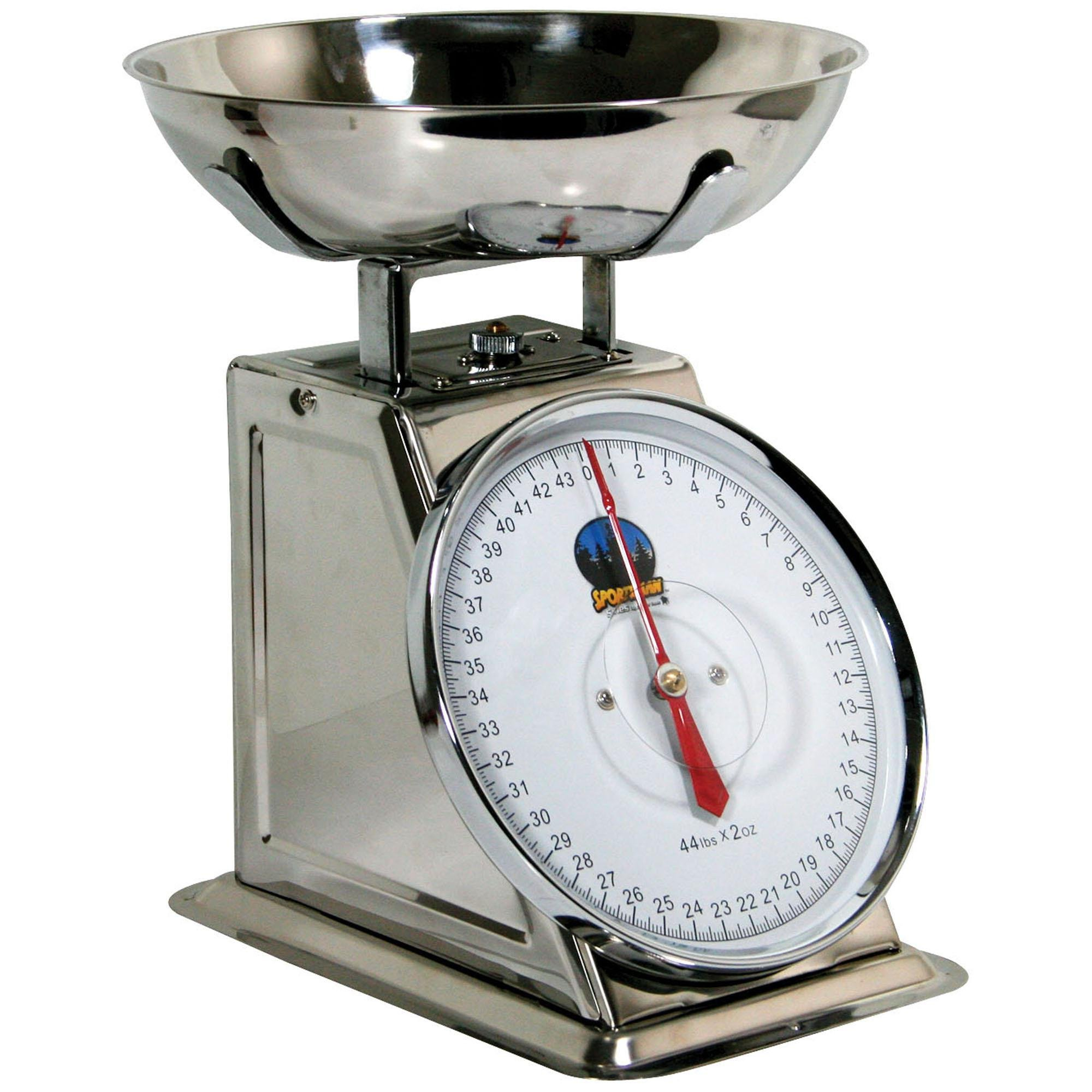 Sportsman Series Kitchen Baking Food Preparation 44 Lb Stainless Steel Dial Scale Measuring Tool by Buffalo Tools