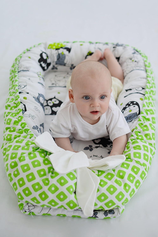 Baby Nest Snuggle Nest Cotton Portable Crib Green Owl