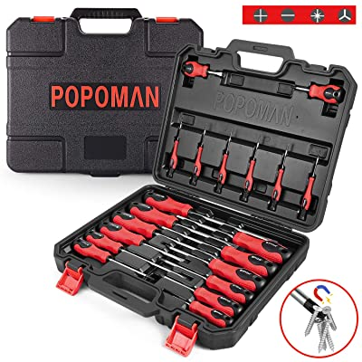 Screwdriver Set, POPOMAN Magnetic 20-Piece Screwdriver Tool Set with Case, 6150CRV, Precision Slotted/Phillips/Torx Screwdriver with Heavy Duty Non-Slip Tips, Tool Kits-MTH300: Home Improvement