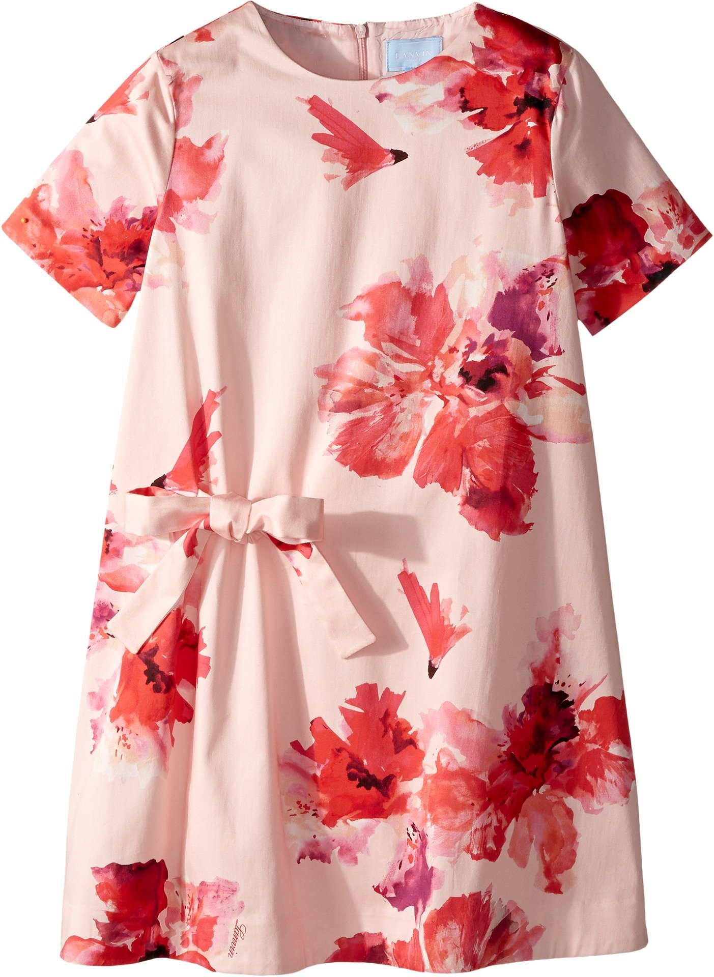 Lanvin Kids Girl's Short Sleeve Floral Print A-Line Dress with Bow On Front (Big Kids) Pink/Multi 10