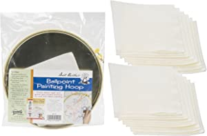 Aunt Martha's Ballpoint Metal Painting Hoop 10 inches Bundle with Replacement Blotters 12 Sheets