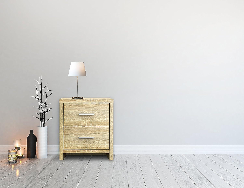 Furniture 247 Nachttisch mit 2 Schubladen - Natürliche Eiche ...