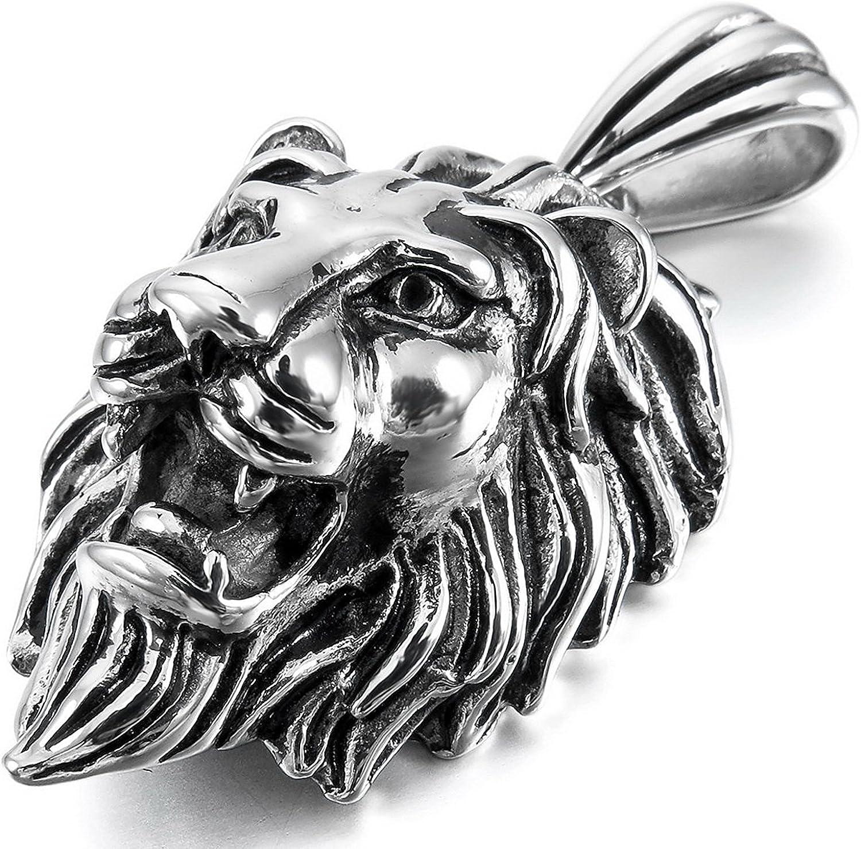 Pendentif t/ête de lion en acier inoxydable couleur argent/é pour homme /avec cha/îne de 58,4/cm de long Sungpunet