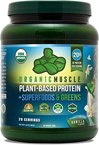 Organic Plant Based Meal Replacement Shake 20g of Organic Vegan Protein 40 Organic Superfoods Greens Immune Booster, Weight Loss Aid, Probiotic Blend Non-GMO, Vanilla Flavor 20 Serv