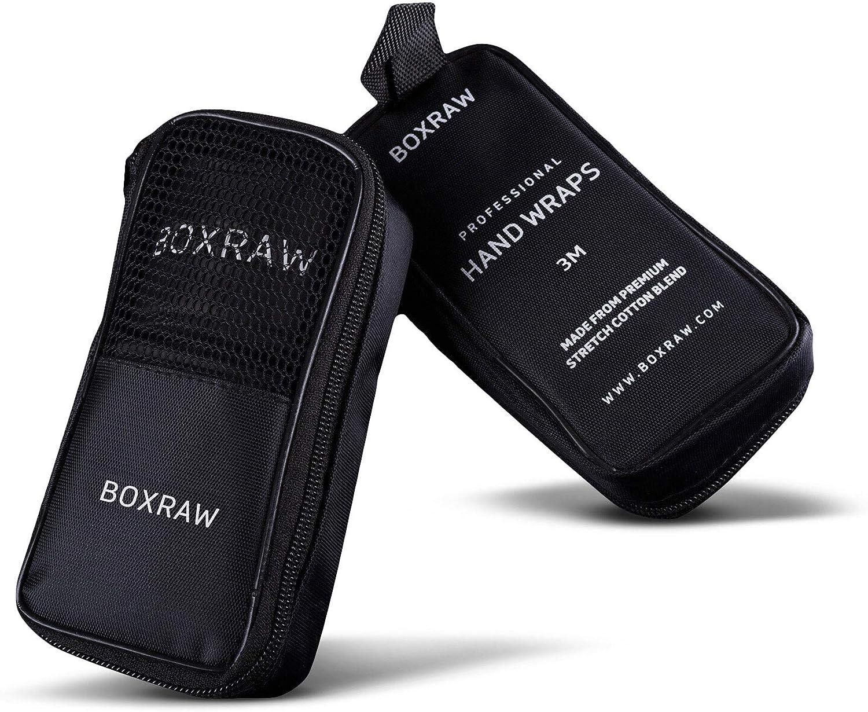 BOXRAW Bendaggi manuali Professionali 4.5m Blu Neon Custodia Gratuita /& Cinturini Gommati Bendaggi Elasticizzati Adulto per Boxing MMA