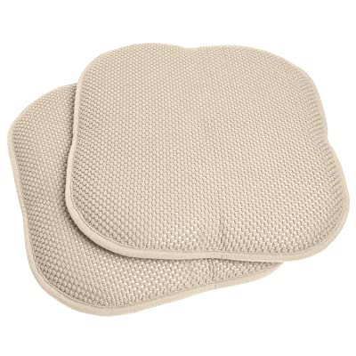 Sweet Home Collection 16x16 Memory Foam Chair Pad/Seat Cushion Pairs with Non-Slip Backing - 16 X 16 Linen Set of 4 Indoor-Outdoor, Lounge, Non Slip: Home & Kitchen
