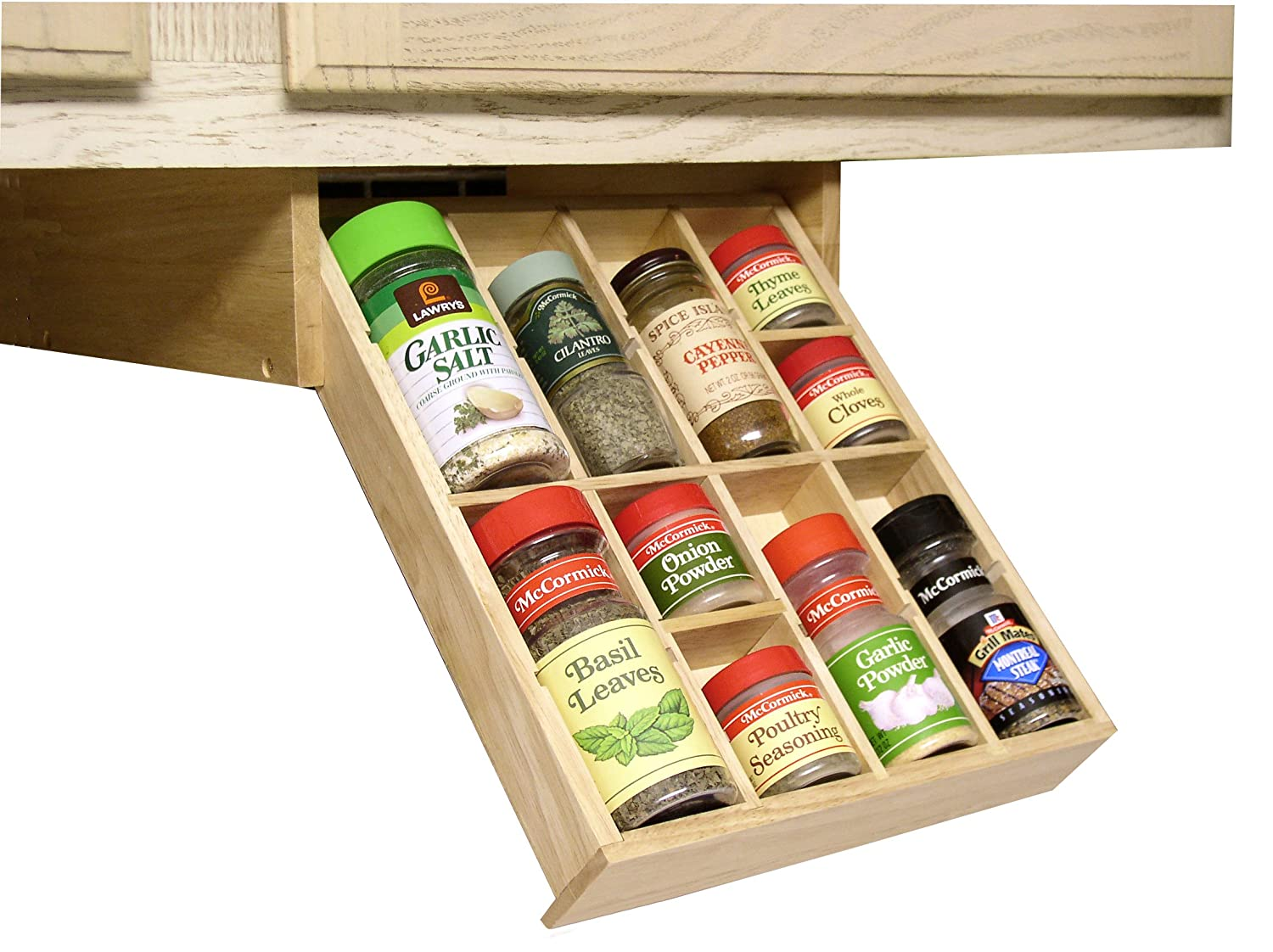 Amazon.com: Under Cabinet Shelf Kitchen Storage Spice Rack K Cup Mounted  Adjustable Hardwood Organizer, By Axis: Home U0026 Kitchen