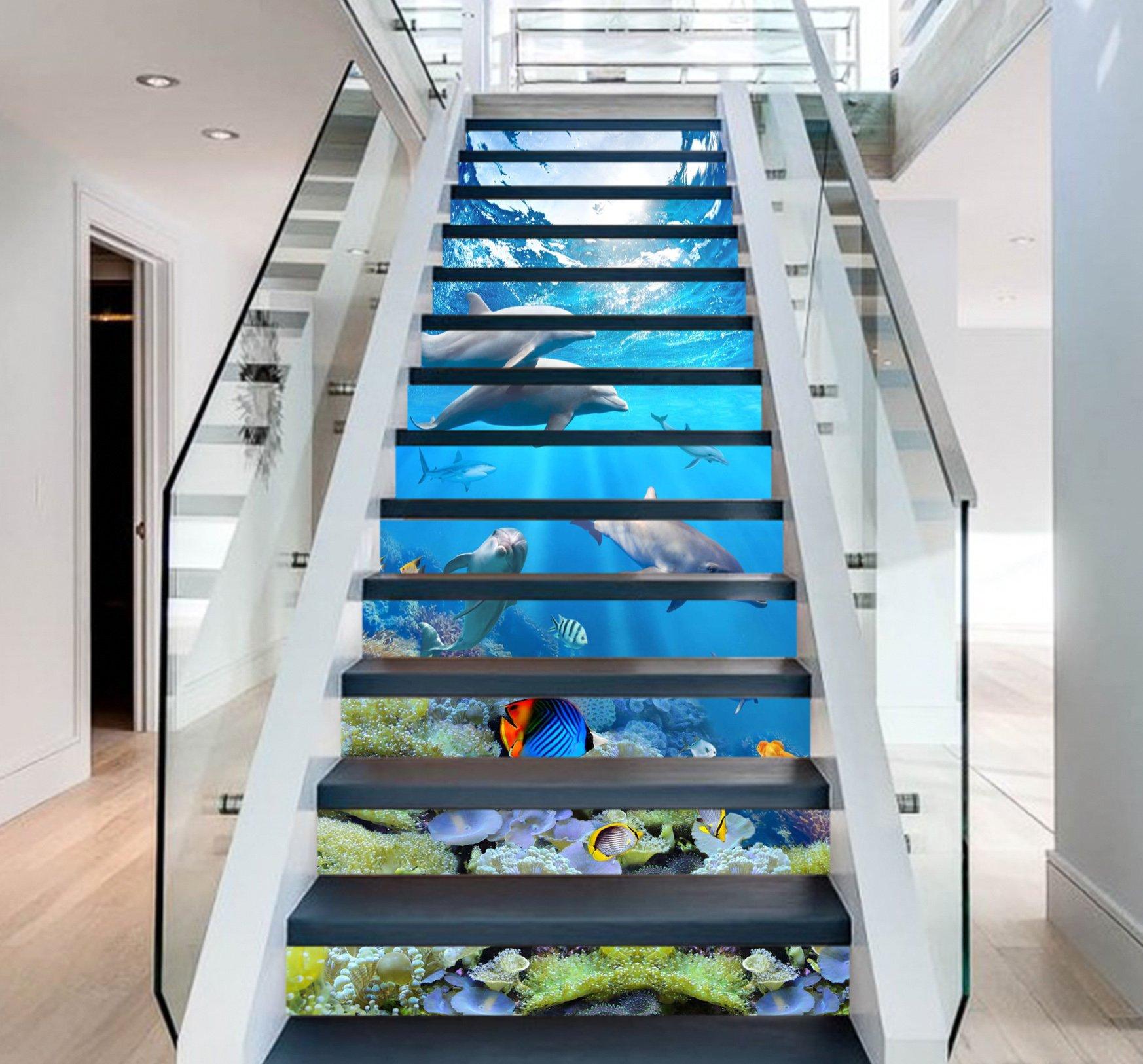 3D Dolphin Ocean View 6411 Stair Risers Decoration Photo Mural Vinyl Decal Wallpaper Murals Wallpaper Mural US Lemon (15x H:18cm x W:94cm (7''x37''))