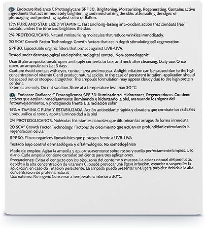 Endocare Radiance C Proteoglicanos SPF30 - Ampollas Faciales Antiedad, Regeneradoras, Hidratantes con Vitamina C y Fotoprotección, para Pieles Secas, 30 Unidades