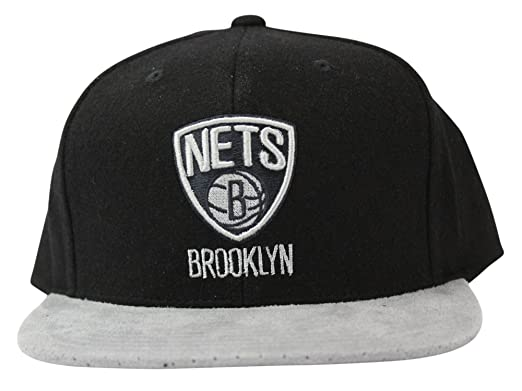 Mitchell   Ness Men s Winter Suede Perforated Visor NBA Brooklyn Nets Strapback  Cap 6e2939f8d57f