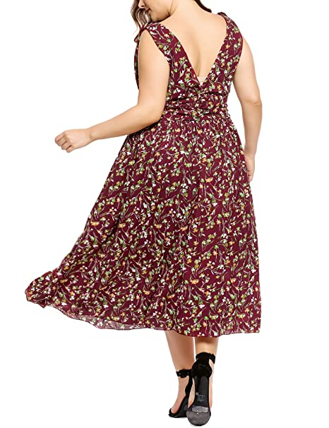 Amazon.com: Involand Women Plus Size Bohemian Sleeveless Deep V-Neck Evening Cocktail Maxi Beach Dress: Clothing