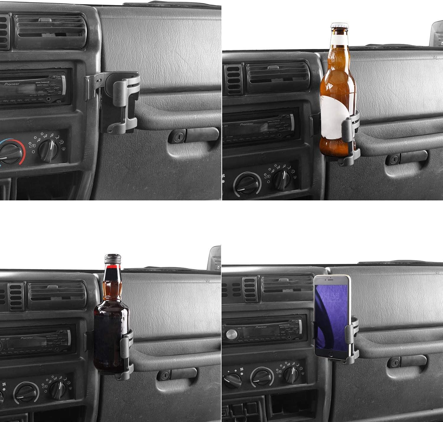 u-Box for Jeep Wrangler TJ 97-06 Multi-Function Drink Cup Holder Phone Mount Bracket