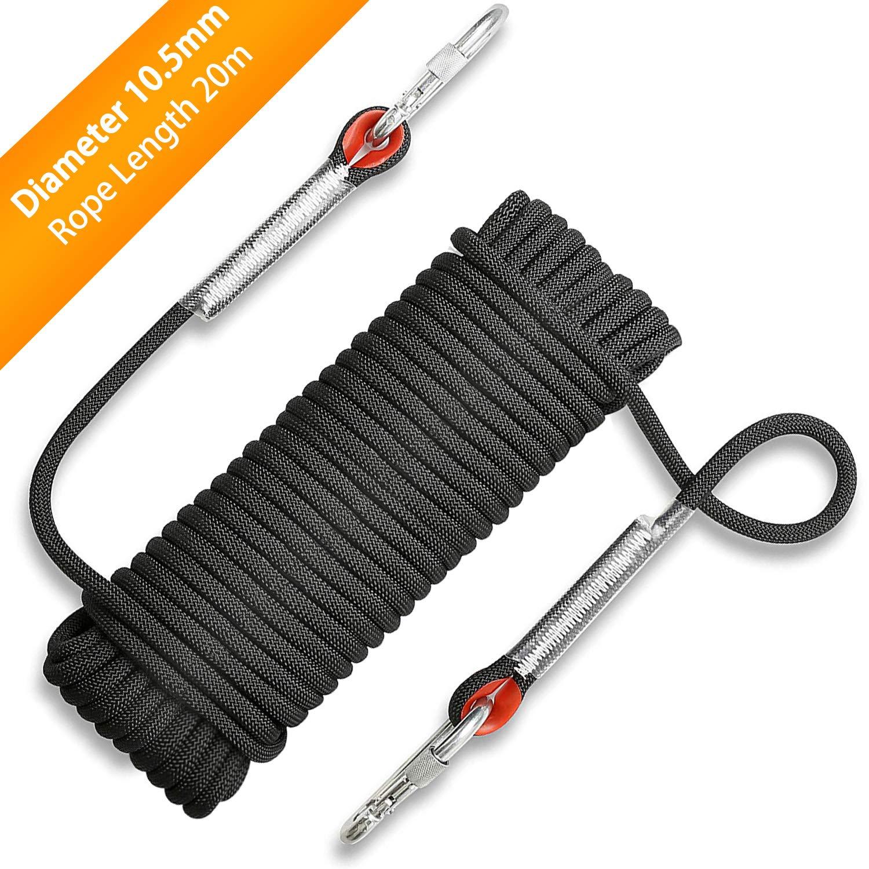 ロッククライミングロープ 直径10.5mm アウトドアハイキングアクセサリー 高強度コード安全ロープ 耐火安全ラペリングロープ カラビナ付き  ブラック B07MXV7DB6