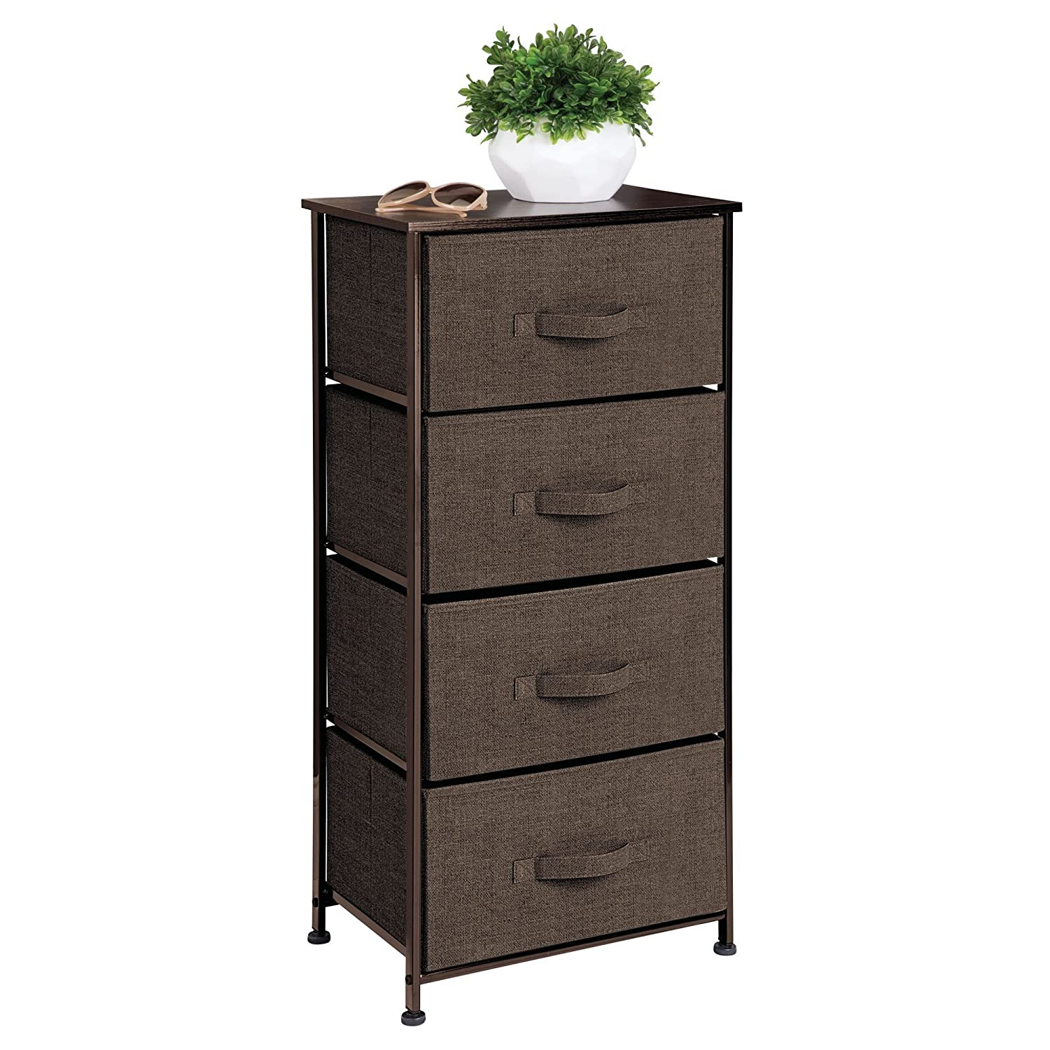 mDesign Vertical Dresser Storage Tower - Sturdy Steel Frame, Wood Top, Easy Pull Fabric Bins - Organizer Unit for Bedroom, Hallway, Entryway, Closets - Textured Print - 4 Drawers - Espresso Brown MetroDecor