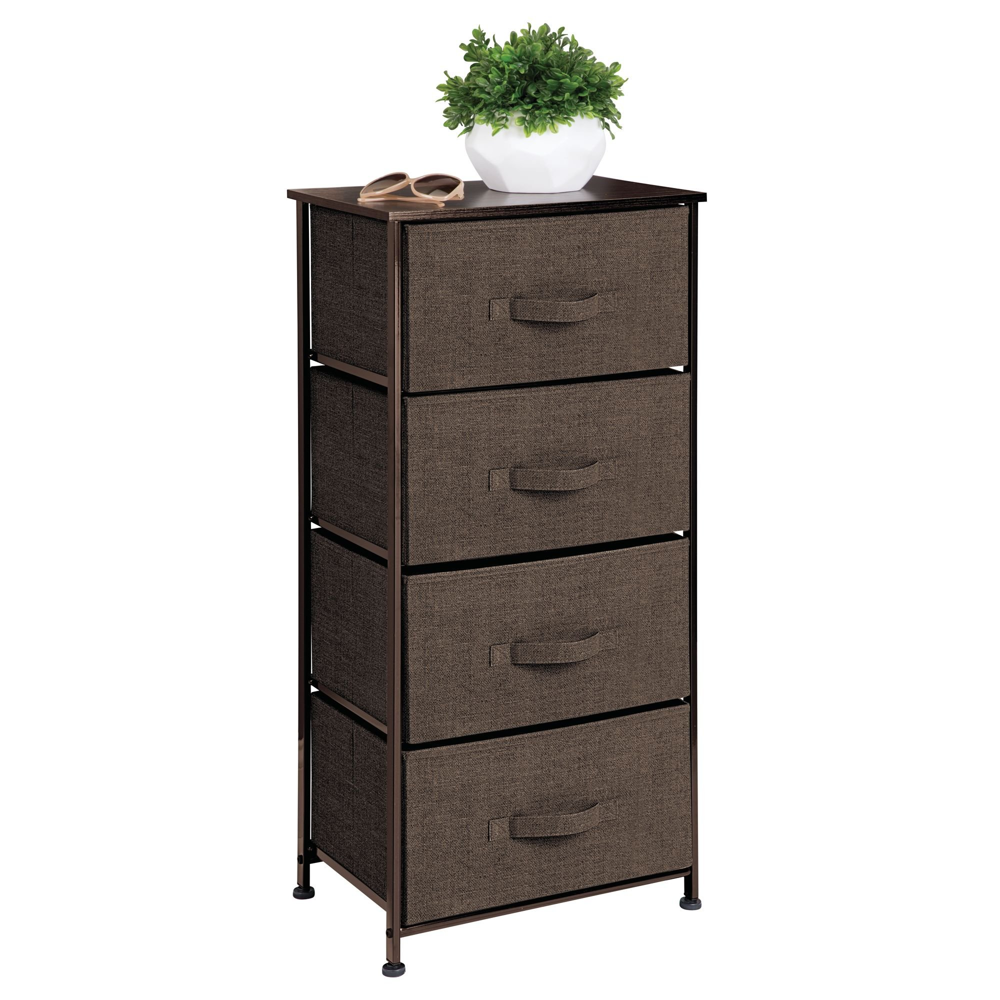 mDesign Vertical Dresser Storage Tower - Sturdy Steel Frame, Wood Top, Easy Pull Fabric Bins - Organizer Unit for Bedroom, Hallway, Entryway, Closets - Textured Print - 4 Drawers, Espresso by mDesign