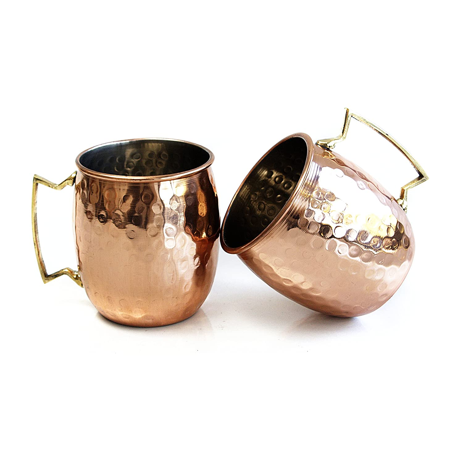 Moscow Mule Hammered Copper 18 Ounce Drinking Mug Set of 2