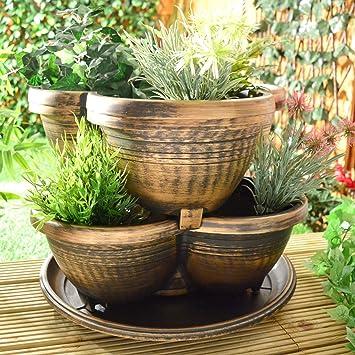 Stapeln, Pflanzgefäßen stapelbar Garten Outdoor Pflanzkübel rund ...
