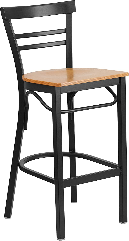 Flash Furniture HERCULES Series Black Two-Slat Ladder Back Metal Restaurant Barstool - Natural Wood Seat