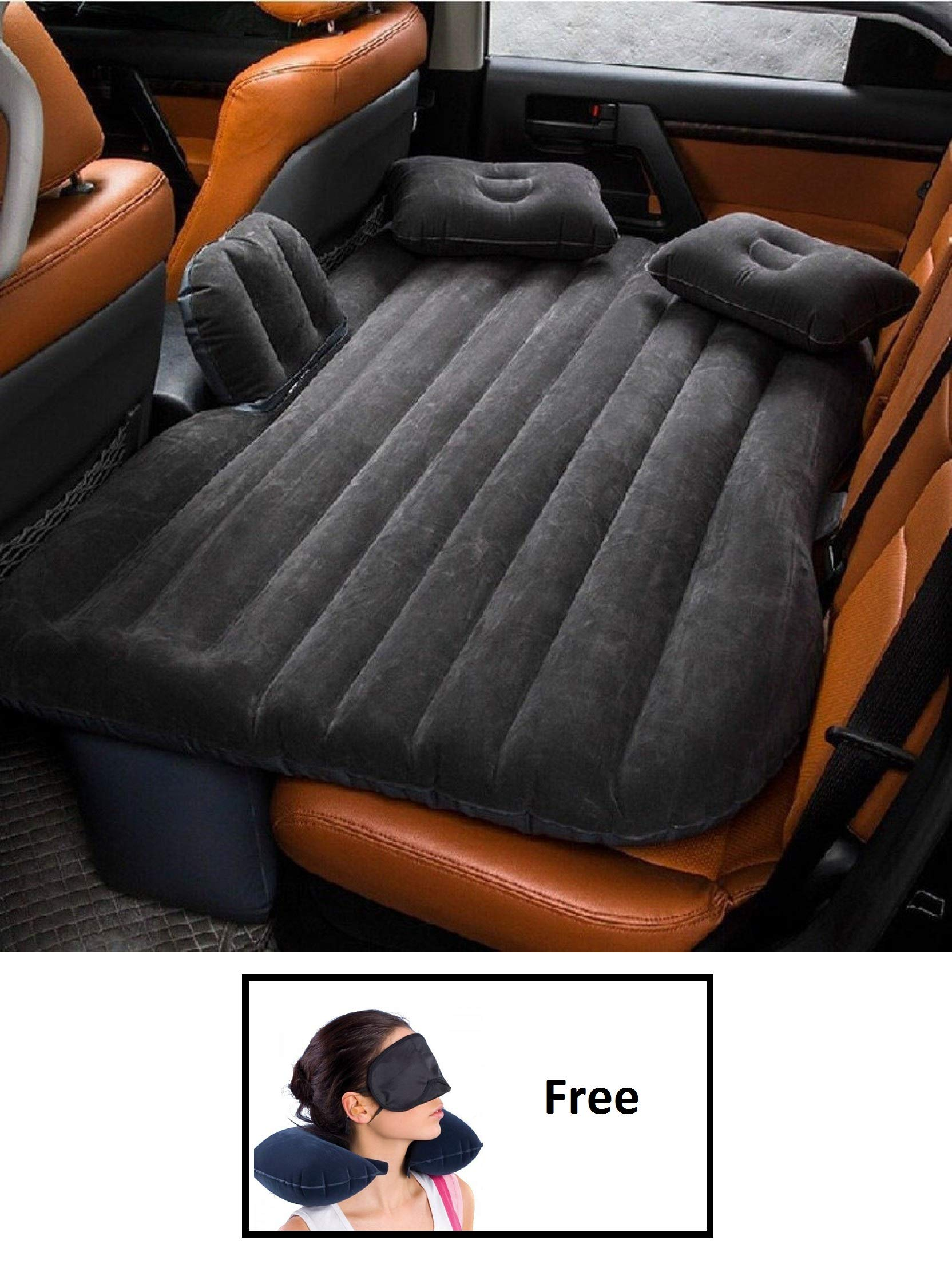 HSR Inflatable Car Bed Mattress with Two Air Pillows, Car Air Pump and Repair Kit (Multi Color) product image