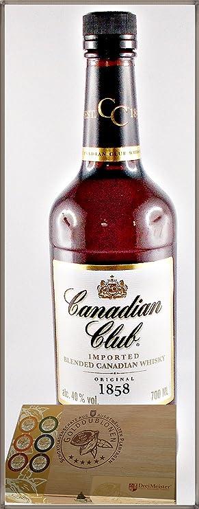 Canadian Club kanadischer Whisky mit 45 DreiMeister Edel Schokoladen im Holzkistchen, kostenloser Versand