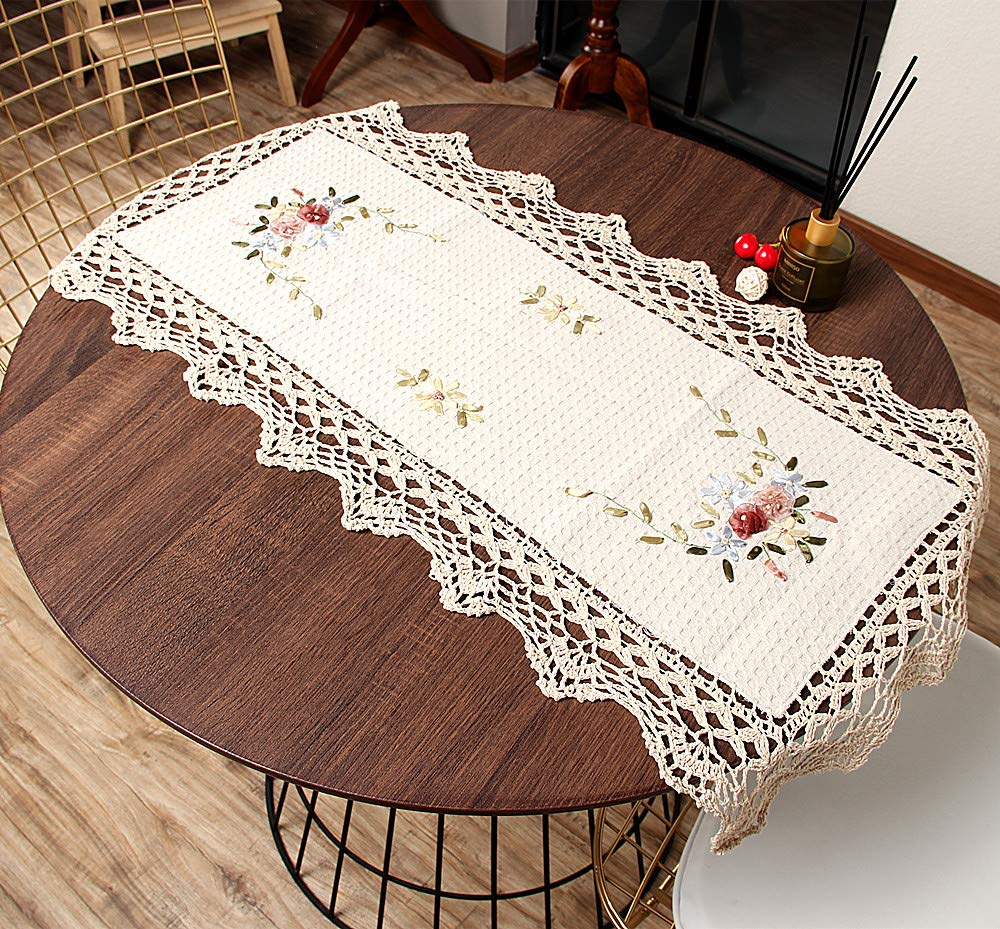 Vanyear Handmade Crochet Doilies Cotton Lace Table Runners Cloth Centerpieces for Dining Room Table, 17x35inch