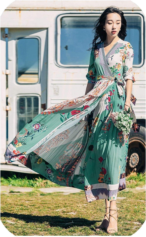 VITryst-Women Empire Waist Low Back Deep V Neck Evening Long Maxi Dresses