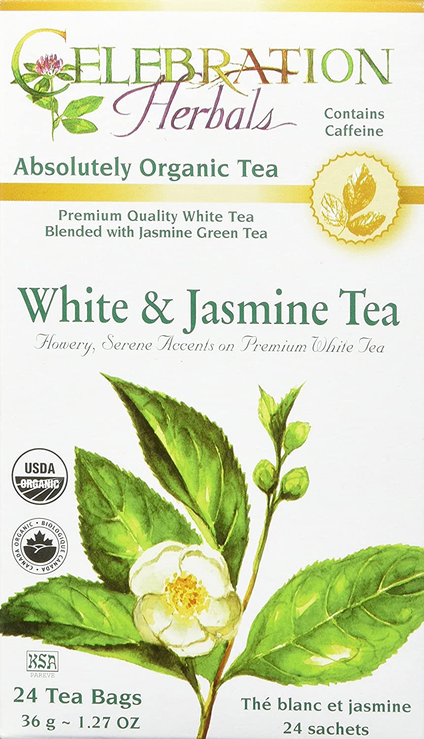 CELEBRATION HERBALS White & Jasmine Tea Organic 24 Bag, 0.02 Pound