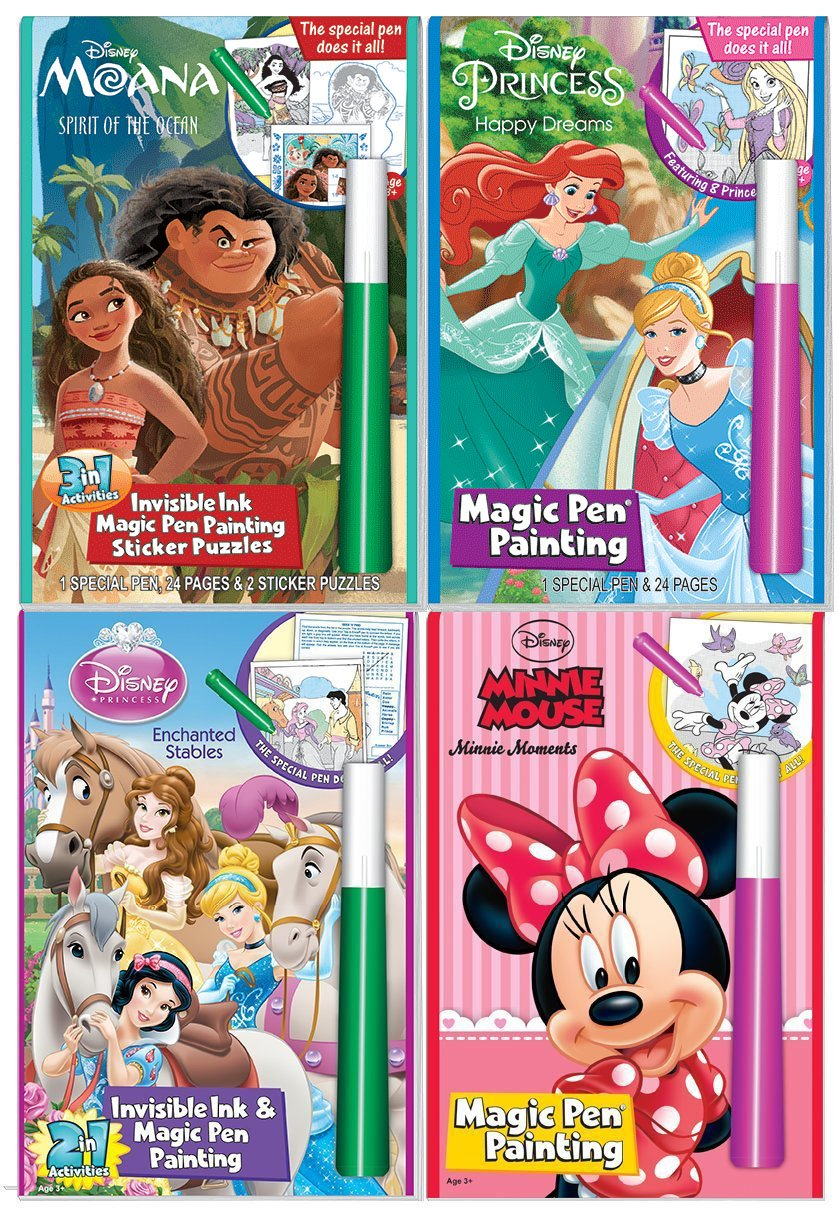 Disney Characters Magic Pen Painting Activity Books for Girls with Zipafile Zipper Bag. Includes: Moana Spirit of the ocean, Princess Happy Dreams and Enchanted Stable, Minnie Moments coloring books.