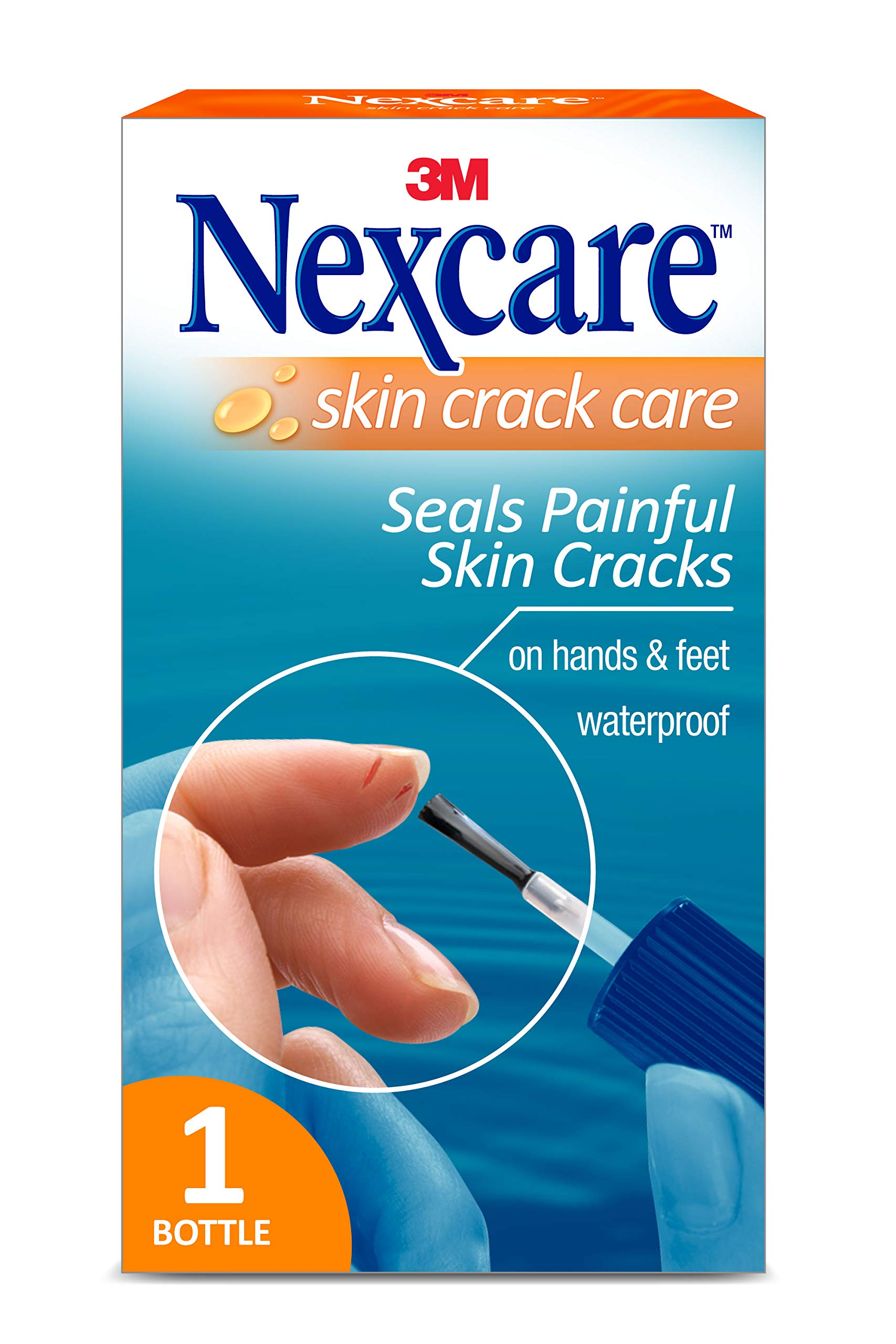 Nexcare Skin Crack Care, Liquid Bandage, Great for Use on Fingers, Hands and Feet, No Sting, Waterproof, 1 Bottle