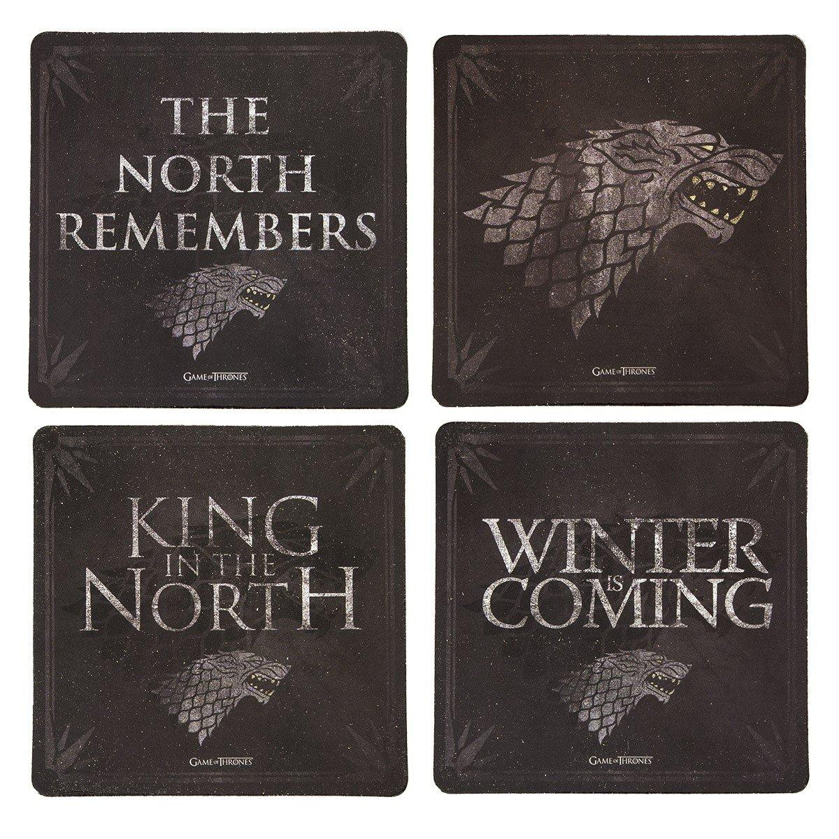Game of Thrones Cork-Back Coaster Set, Multicolored (Stark)