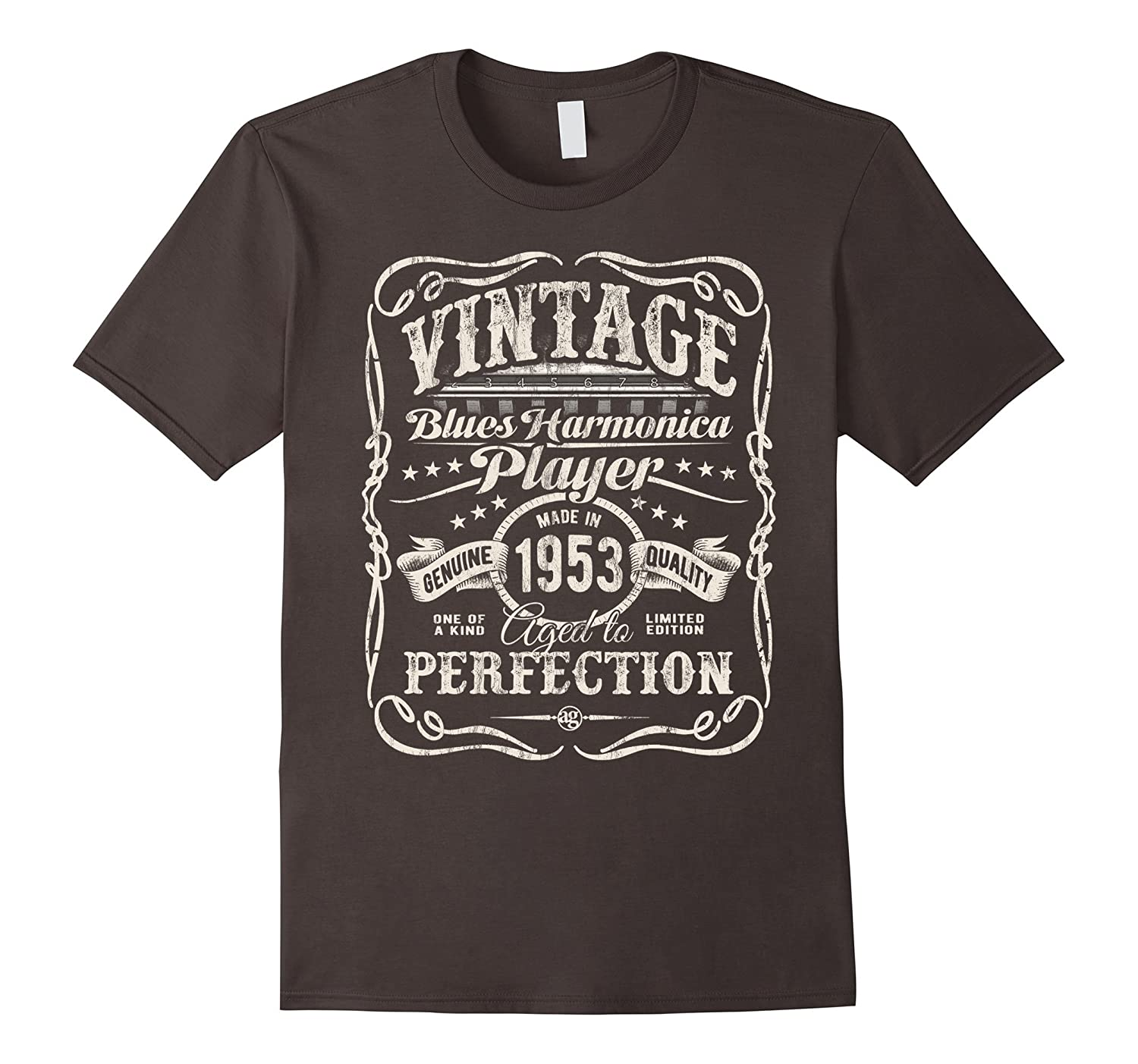 Vintage Blues Harmonica Player Made In 1953 T-Shirt