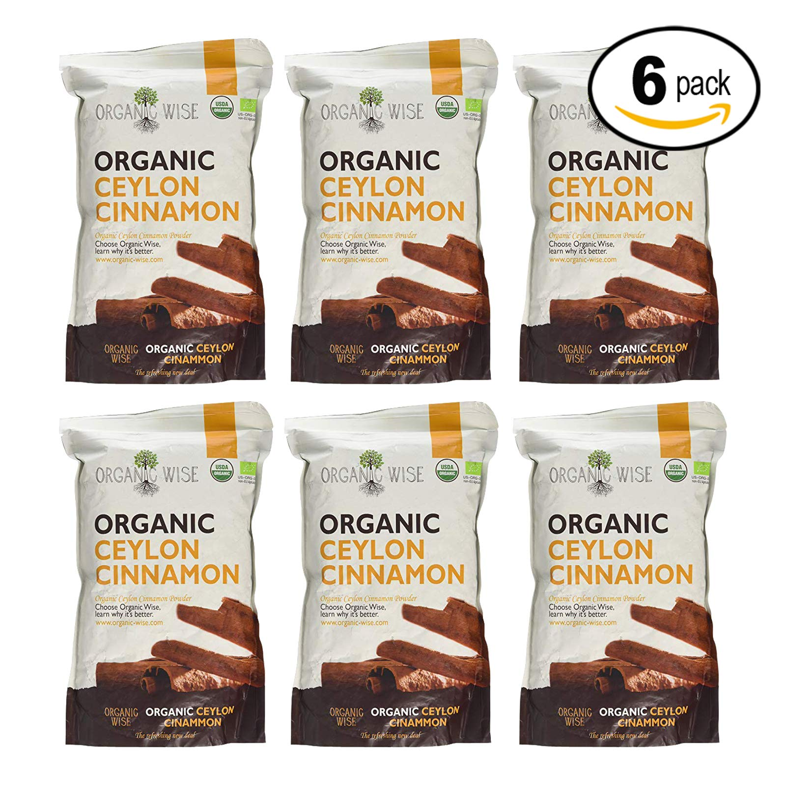 Organic Wise Ceylon Cinnamon Ground Powder, 1 lb-From a USDA Certified Organic Farm and Packed In The USA-6 Pack Bundle by Organic Wise (Image #1)