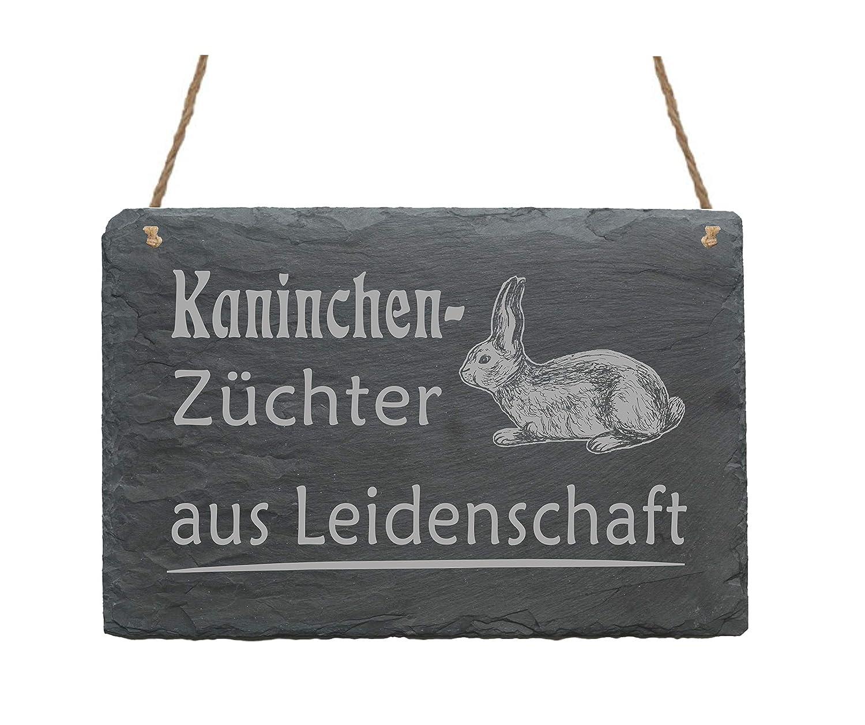 Wetterfeste Schiefertafel /« Kaninchenz/üchter aus Leidenschaft /» Schild mit Motiv Hase Dekoration T/ürschild Kaninchen Hasen Kaninchenzucht