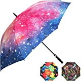 Big Umbrella with Cool, Colorful Designs; Extra Large Family Size 62 Inch Domed Sun and Rain Umbrella; UV Protection with Superior SPF; Quick Dry, Durable, Windproof and Automatic Open.