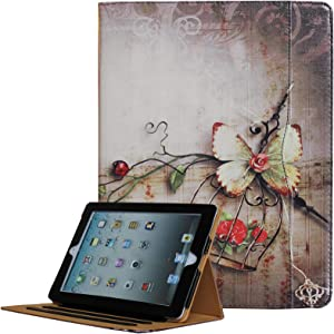 JYtrend iPad 2 /iPad 3 /iPad 4 Case, Multi-Angle Viewing Stand Leather Folio Smart Cover with Pocket, Auto Wake Up/Sleep for Model A1395 A1396 A1397 A1403 A1416 A1430 A1458 A1459 A1460 (Butterfly)