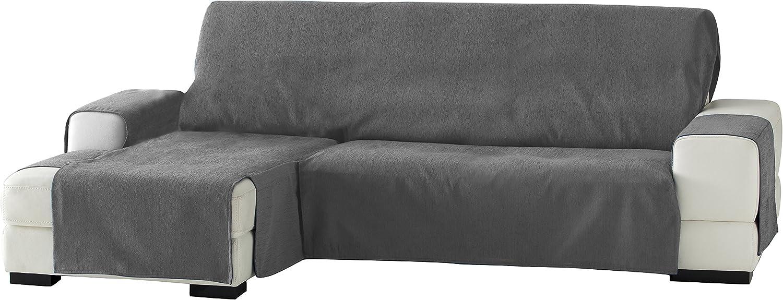 Eysa Zoco Funda para chaise longue, Tres Plazas, Izquierda- vista frontal, Gris, 240 cm